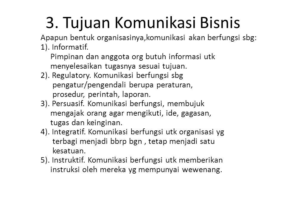 3. Tujuan Komunikasi Bisnis Apapun bentuk organisasinya,komunikasi akan berfungsi sbg: 1). Informatif. Pimpinan dan anggota org butuh informasi utk me