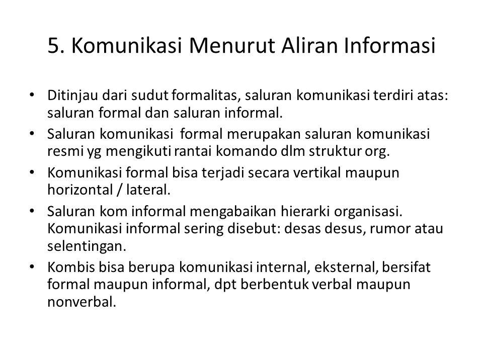 5. Komunikasi Menurut Aliran Informasi Ditinjau dari sudut formalitas, saluran komunikasi terdiri atas: saluran formal dan saluran informal. Saluran k