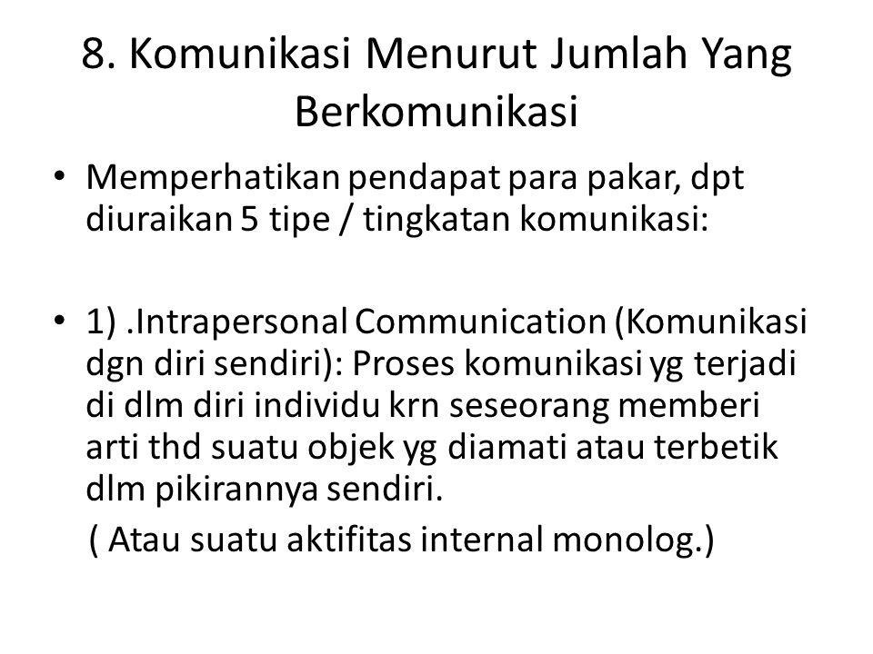 8. Komunikasi Menurut Jumlah Yang Berkomunikasi Memperhatikan pendapat para pakar, dpt diuraikan 5 tipe / tingkatan komunikasi: 1).Intrapersonal Commu