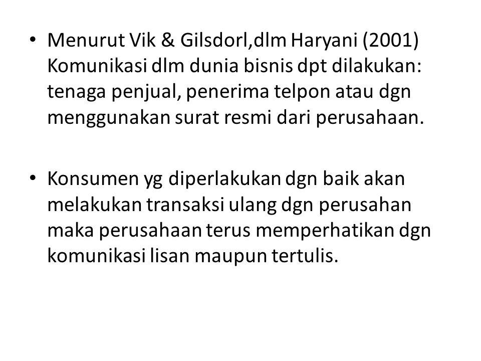 Menurut Vik & Gilsdorl,dlm Haryani (2001) Komunikasi dlm dunia bisnis dpt dilakukan: tenaga penjual, penerima telpon atau dgn menggunakan surat resmi