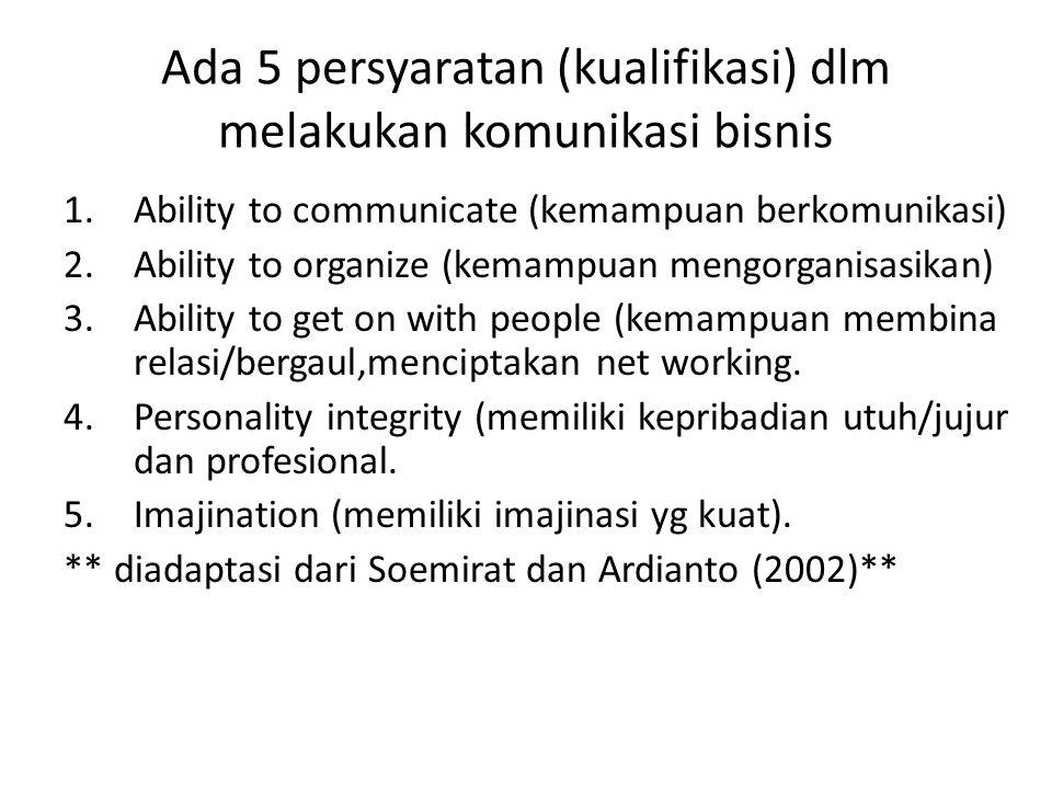 Ada 5 persyaratan (kualifikasi) dlm melakukan komunikasi bisnis 1.Ability to communicate (kemampuan berkomunikasi) 2.Ability to organize (kemampuan me