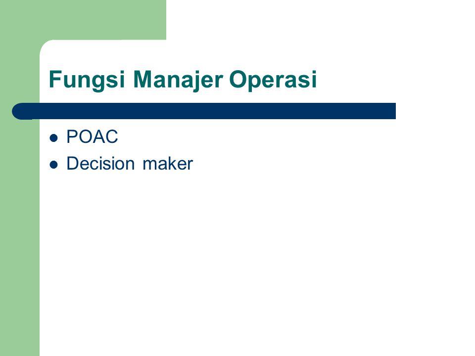 Fungsi Manajer Operasi POAC Decision maker