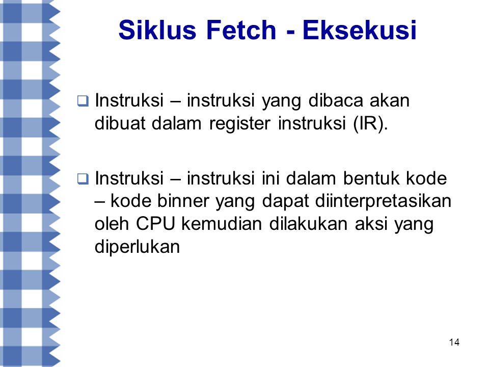 14 Siklus Fetch - Eksekusi  Instruksi – instruksi yang dibaca akan dibuat dalam register instruksi (IR).