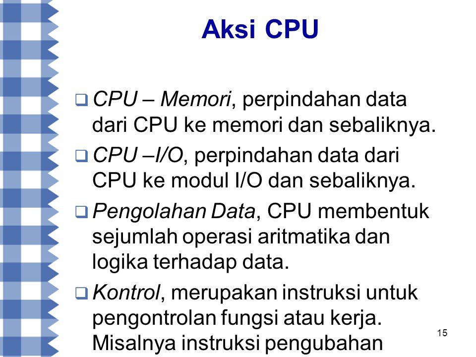 15 Aksi CPU  CPU – Memori, perpindahan data dari CPU ke memori dan sebaliknya.