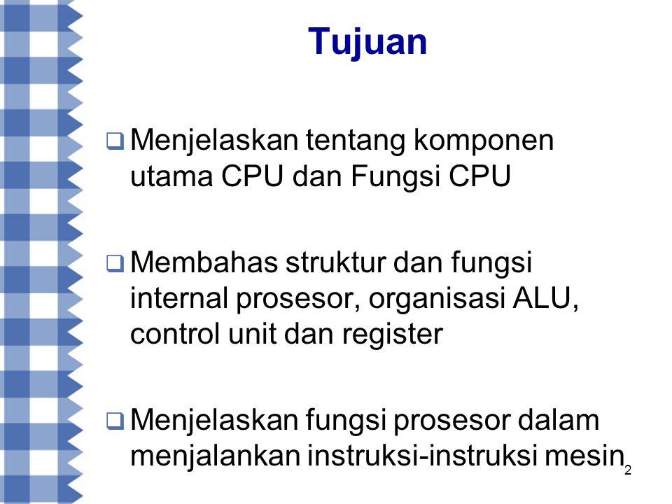 13 Siklus Fetch - Eksekusi  Pada setiap siklus instruksi, CPU awalnya akan membaca instruksi dari memori  Terdapat register dalam CPU yang berfungsi mengawasi dan menghitung instruksi selanjutnya, yang disebut Program Counter (PC)  PC akan menambah satu hitungannya setiap kali CPU membaca instruksi