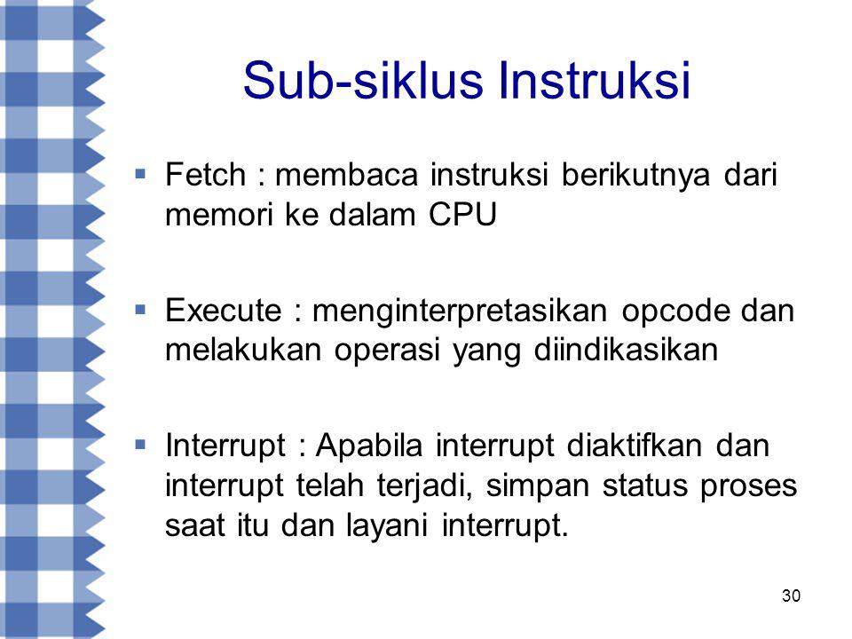 30 Sub-siklus Instruksi  Fetch : membaca instruksi berikutnya dari memori ke dalam CPU  Execute : menginterpretasikan opcode dan melakukan operasi yang diindikasikan  Interrupt : Apabila interrupt diaktifkan dan interrupt telah terjadi, simpan status proses saat itu dan layani interrupt.