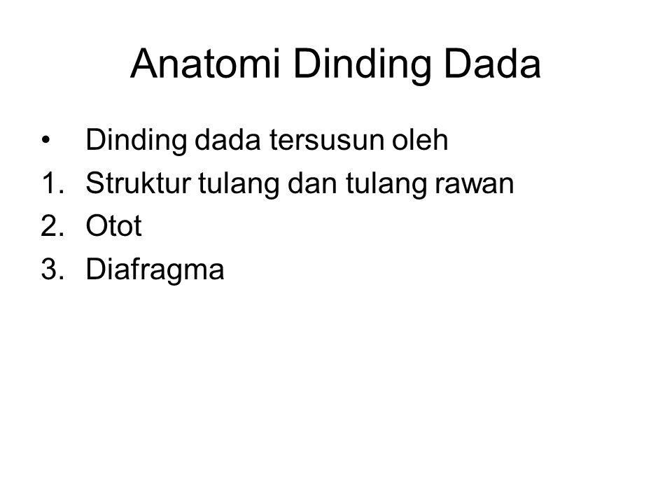 Anatomi Dinding Dada Dinding dada tersusun oleh 1.Struktur tulang dan tulang rawan 2.Otot 3.Diafragma