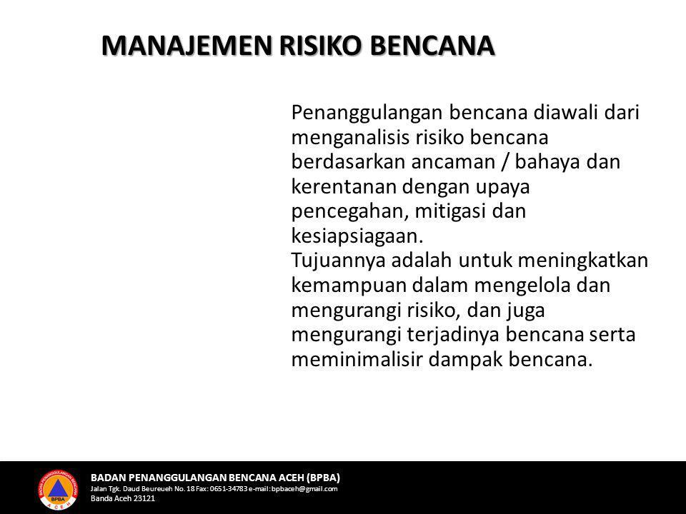MANAJEMEN RISIKO BENCANA Penanggulangan bencana diawali dari menganalisis risiko bencana berdasarkan ancaman / bahaya dan kerentanan dengan upaya pencegahan, mitigasi dan kesiapsiagaan.