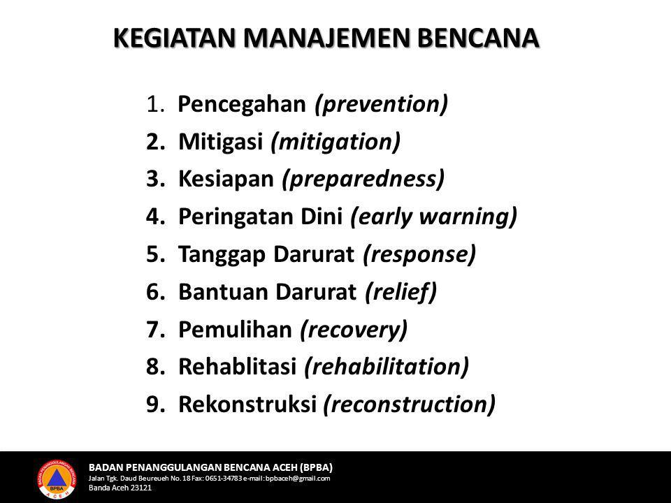 1. Pencegahan (prevention) 2. Mitigasi (mitigation) 3. Kesiapan (preparedness) 4. Peringatan Dini (early warning) 5. Tanggap Darurat (response) 6. Ban