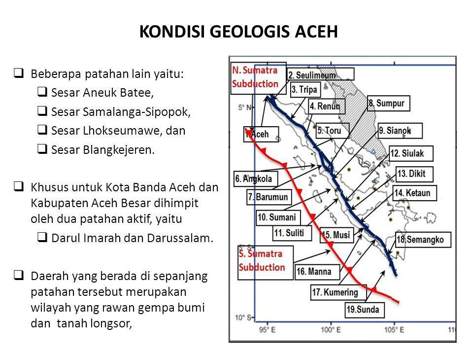 KONDISI GEOLOGIS ACEH  Beberapa patahan lain yaitu:  Sesar Aneuk Batee,  Sesar Samalanga-Sipopok,  Sesar Lhokseumawe, dan  Sesar Blangkejeren. 