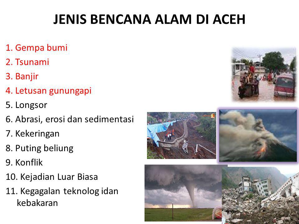 JENIS BENCANA ALAM DI ACEH 1. Gempa bumi 2. Tsunami 3. Banjir 4. Letusan gunungapi 5. Longsor 6. Abrasi, erosi dan sedimentasi 7. Kekeringan 8. Puting