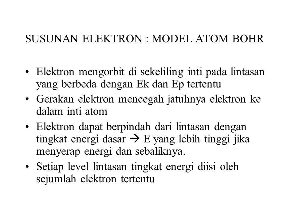 SUSUNAN ELEKTRON : MODEL ATOM BOHR Elektron mengorbit di sekeliling inti pada lintasan yang berbeda dengan Ek dan Ep tertentu Gerakan elektron mencegah jatuhnya elektron ke dalam inti atom Elektron dapat berpindah dari lintasan dengan tingkat energi dasar  E yang lebih tinggi jika menyerap energi dan sebaliknya.