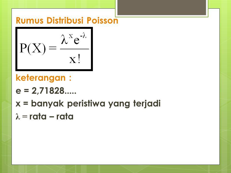 Rumus Distribusi Poisson keterangan : e = 2,71828..... x = banyak peristiwa yang terjadi λ = rata – rata