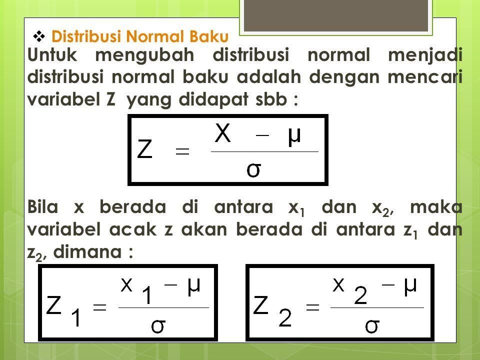  Distribusi Normal Baku Untuk mengubah distribusi normal menjadi distribusi normal baku adalah dengan mencari variabel Z yang didapat sbb : Bila x be