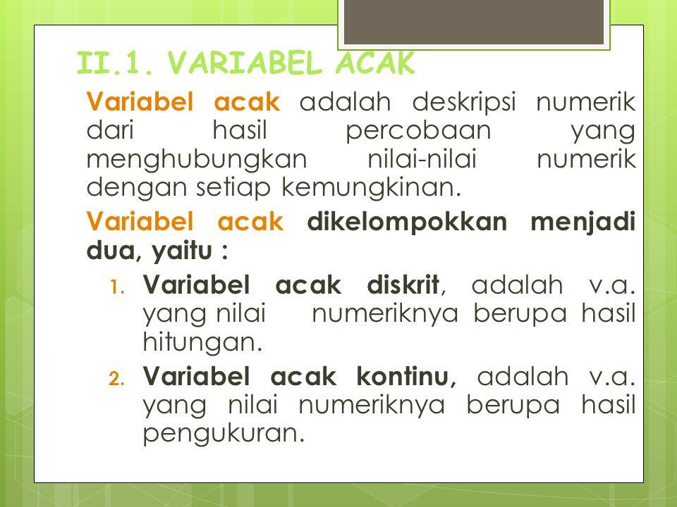 II.1. VARIABEL ACAK Variabel acak adalah deskripsi numerik dari hasil percobaan yang menghubungkan nilai-nilai numerik dengan setiap kemungkinan. Vari