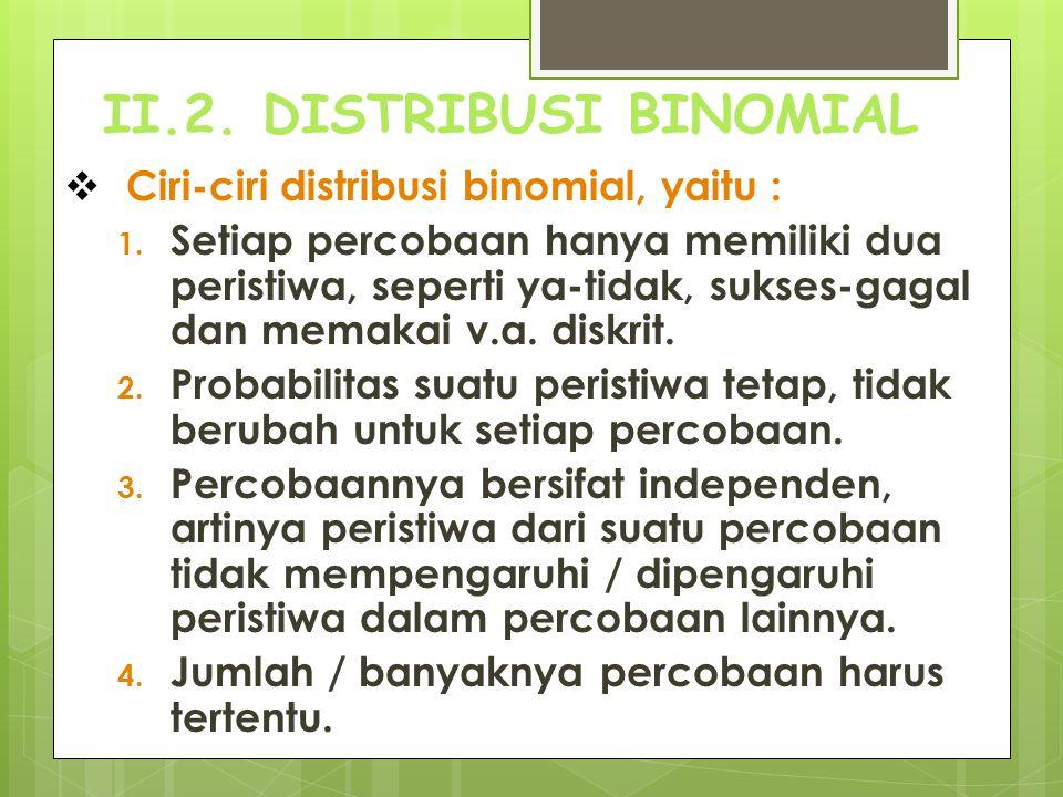 II.2. DISTRIBUSI BINOMIAL  Ciri-ciri distribusi binomial, yaitu : 1. Setiap percobaan hanya memiliki dua peristiwa, seperti ya-tidak, sukses-gagal da