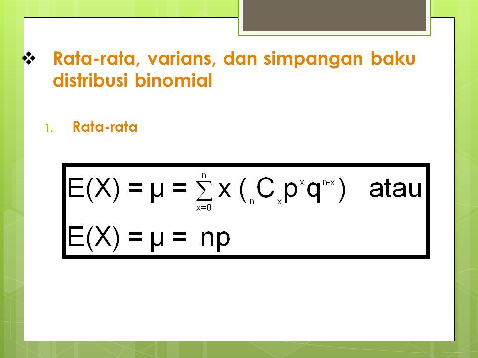  Rata-rata, varians, dan simpangan baku distribusi binomial 1. Rata-rata