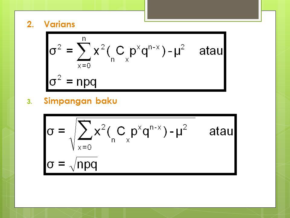 Distribusi Normal Baku Untuk mengubah distribusi normal menjadi distribusi normal baku adalah dengan mencari variabel Z yang didapat sbb : Bila x berada di antara x 1 dan x 2, maka variabel acak z akan berada di antara z 1 dan z 2, dimana :