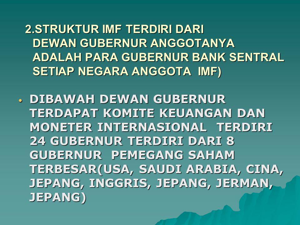 2.STRUKTUR IMF TERDIRI DARI DEWAN GUBERNUR ANGGOTANYA ADALAH PARA GUBERNUR BANK SENTRAL SETIAP NEGARA ANGGOTA IMF) DIBAWAH DEWAN GUBERNUR TERDAPAT KOMITE KEUANGAN DAN MONETER INTERNASIONAL TERDIRI 24 GUBERNUR TERDIRI DARI 8 GUBERNUR PEMEGANG SAHAM TERBESAR(USA, SAUDI ARABIA, CINA, JEPANG, INGGRIS, JEPANG, JERMAN, JEPANG) DIBAWAH DEWAN GUBERNUR TERDAPAT KOMITE KEUANGAN DAN MONETER INTERNASIONAL TERDIRI 24 GUBERNUR TERDIRI DARI 8 GUBERNUR PEMEGANG SAHAM TERBESAR(USA, SAUDI ARABIA, CINA, JEPANG, INGGRIS, JEPANG, JERMAN, JEPANG)
