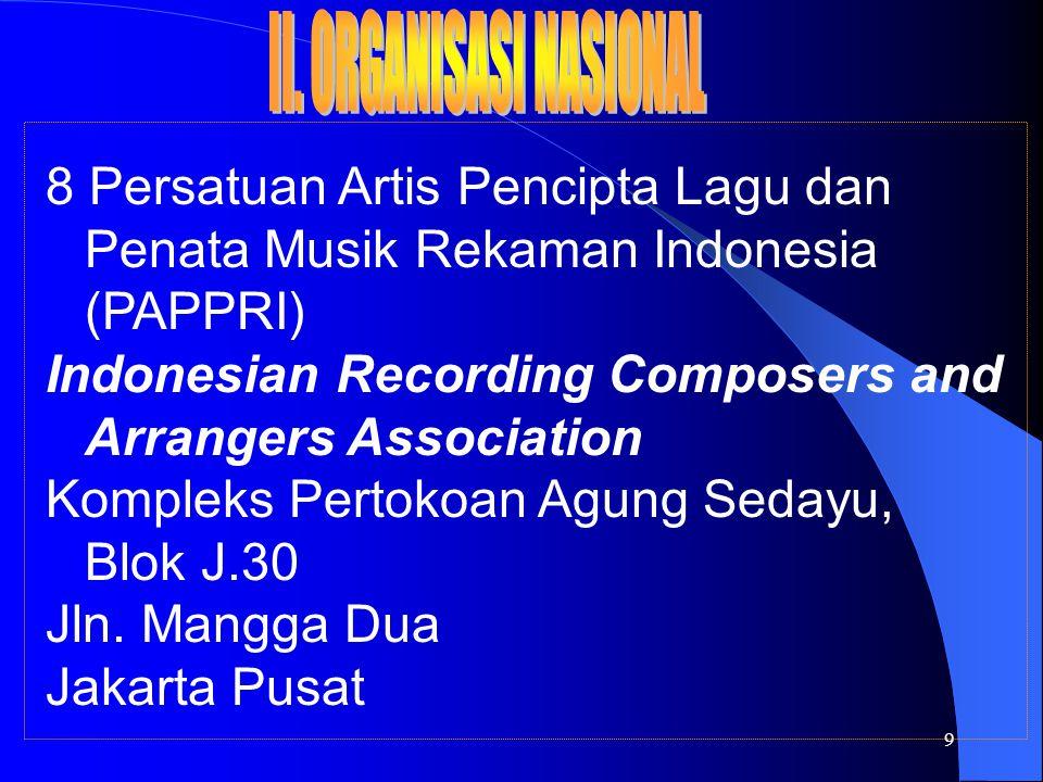 9 8 Persatuan Artis Pencipta Lagu dan Penata Musik Rekaman Indonesia (PAPPRI) Indonesian Recording Composers and Arrangers Association Kompleks Pertokoan Agung Sedayu, Blok J.30 Jln.