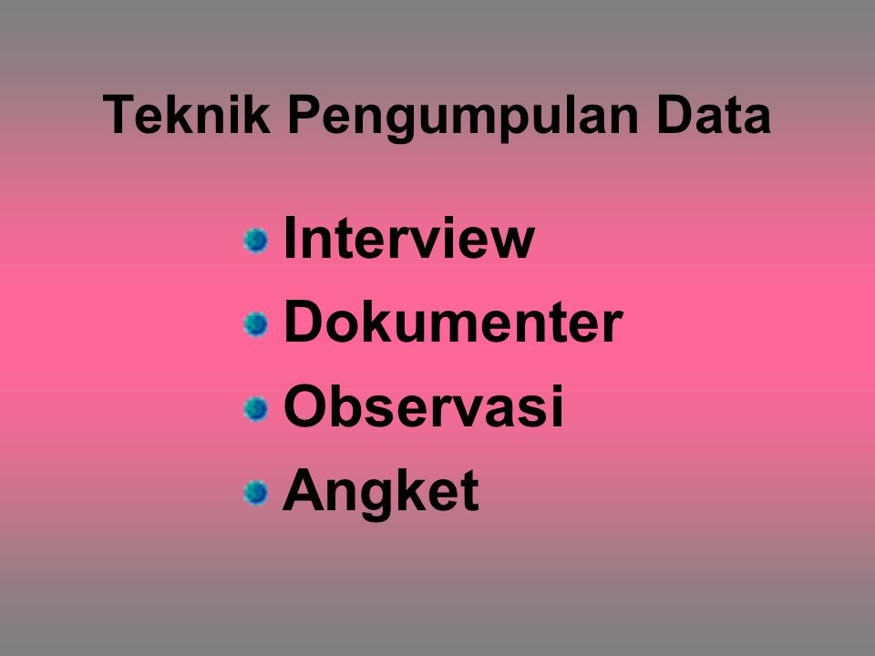 Teknik Pengumpulan Data Interview Dokumenter Observasi Angket