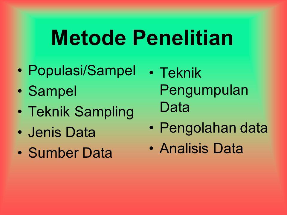 Metode Penelitian Populasi/Sampel Sampel Teknik Sampling Jenis Data Sumber Data Teknik Pengumpulan Data Pengolahan data Analisis Data
