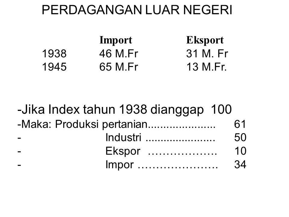 PERDAGANGAN LUAR NEGERI Import Eksport 1938 46 M.Fr31 M. Fr 194565 M.Fr13 M.Fr. -Jika Index tahun 1938 dianggap 100 -Maka: Produksi pertanian.........