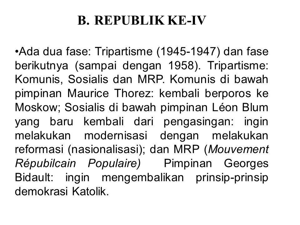 B.REPUBLIK KE-IV Ada dua fase: Tripartisme (1945-1947) dan fase berikutnya (sampai dengan 1958). Tripartisme: Komunis, Sosialis dan MRP. Komunis di ba
