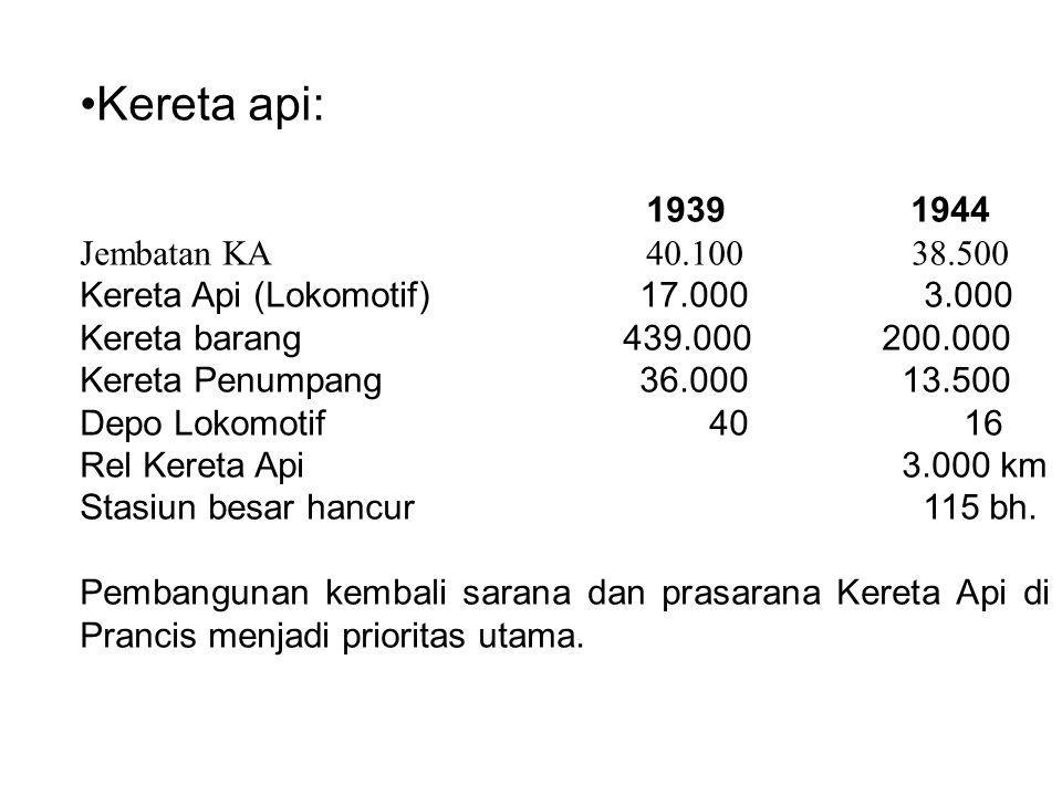 Kereta api: 1939 1944 Jembatan KA 40.100 38.500 Kereta Api (Lokomotif) 17.000 3.000 Kereta barang 439.000 200.000 Kereta Penumpang 36.000 13.500 Depo