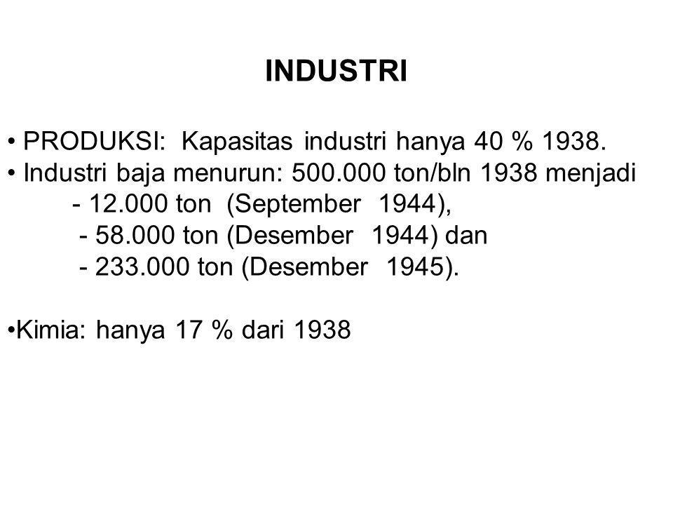 INDUSTRI PRODUKSI: Kapasitas industri hanya 40 % 1938. Industri baja menurun: 500.000 ton/bln 1938 menjadi - 12.000 ton (September 1944), - 58.000 ton