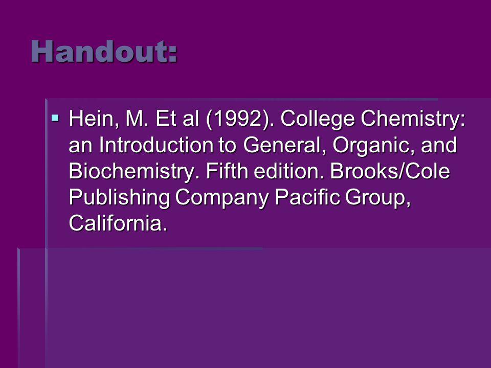 Handout:  Hein, M. Et al (1992).