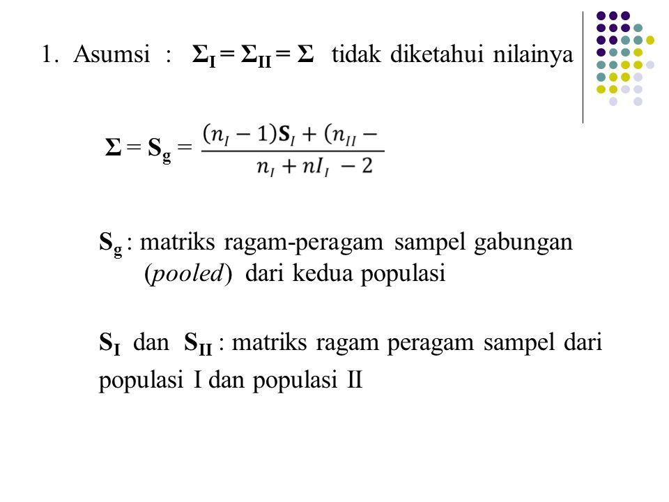 1. Asumsi : Σ I = Σ II = Σ tidak diketahui nilainya Σ = S g = S g : matriks ragam-peragam sampel gabungan (pooled) dari kedua populasi S I dan S II :
