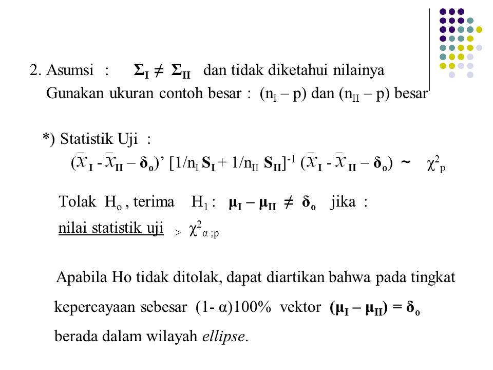 2. Asumsi : Σ I ≠ Σ II dan tidak diketahui nilainya Gunakan ukuran contoh besar : (n I – p) dan (n II – p) besar *) Statistik Uji : ( I - II – δ o )'