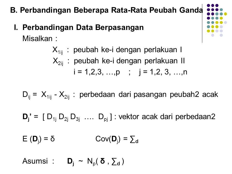 B. Perbandingan Beberapa Rata-Rata Peubah Ganda I. Perbandingan Data Berpasangan Misalkan : X 1ij : peubah ke-i dengan perlakuan I X 2ij : peubah ke-i