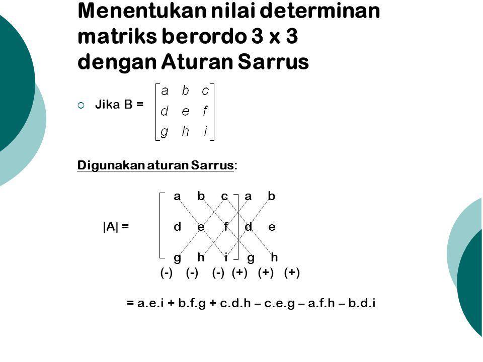 Menentukan nilai determinan matriks berordo 3 x 3 dengan Aturan Sarrus  Jika B = Digunakan aturan Sarrus: a b c a b |A| = d e f d e g h i g h (-) (-)