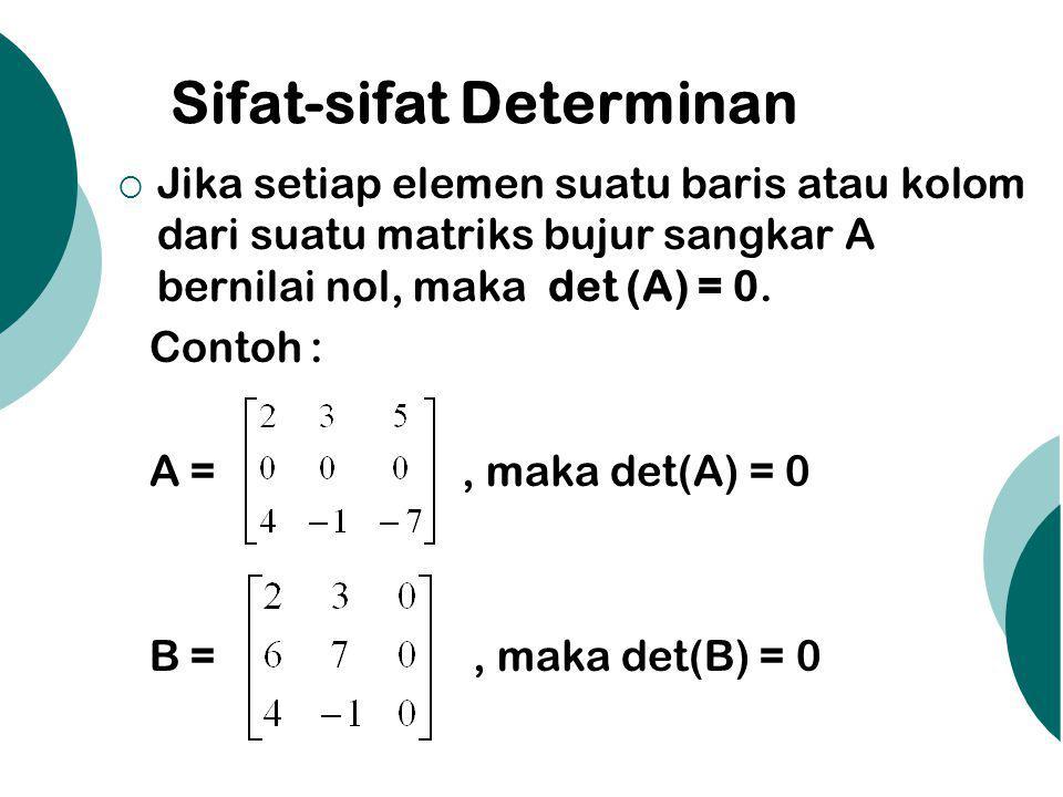 Sifat-sifat Determinan  Jika setiap elemen suatu baris atau kolom dari suatu matriks bujur sangkar A bernilai nol, maka det (A) = 0. Contoh : A =, ma