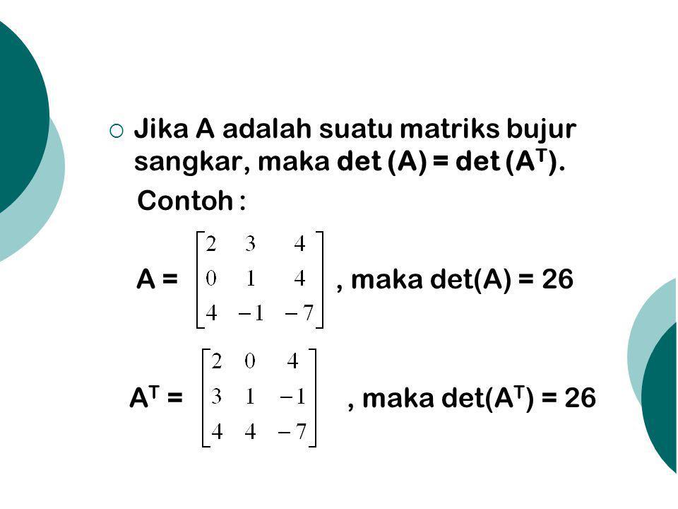  Jika A adalah suatu matriks bujur sangkar, maka det (A) = det (A T ). Contoh : A =, maka det(A) = 26 A T =, maka det(A T ) = 26