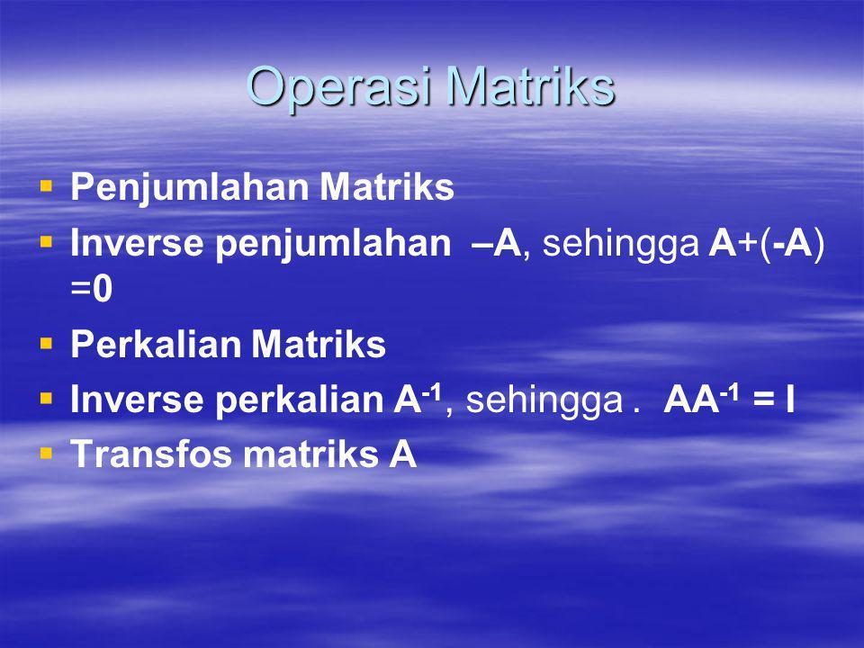 Operasi Matriks   Penjumlahan Matriks   Inverse penjumlahan –A, sehingga A+(-A) =0   Perkalian Matriks   Inverse perkalian A -1, sehingga. AA