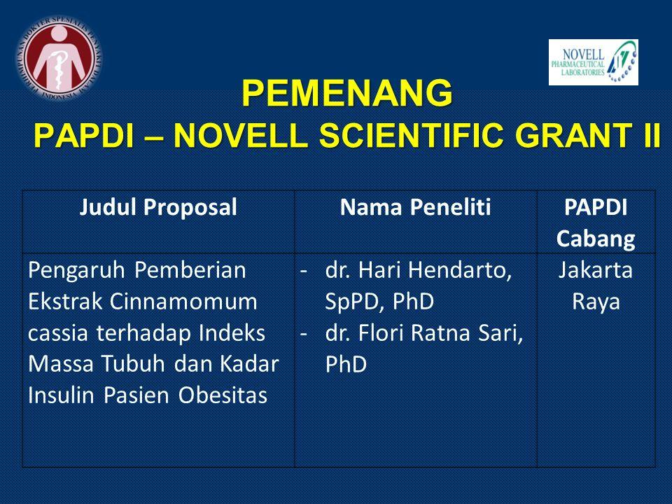 PEMENANG PAPDI – NOVELL SCIENTIFIC GRANT II Judul ProposalNama PenelitiPAPDI Cabang Pengaruh Pemberian Ekstrak Cinnamomum cassia terhadap Indeks Massa