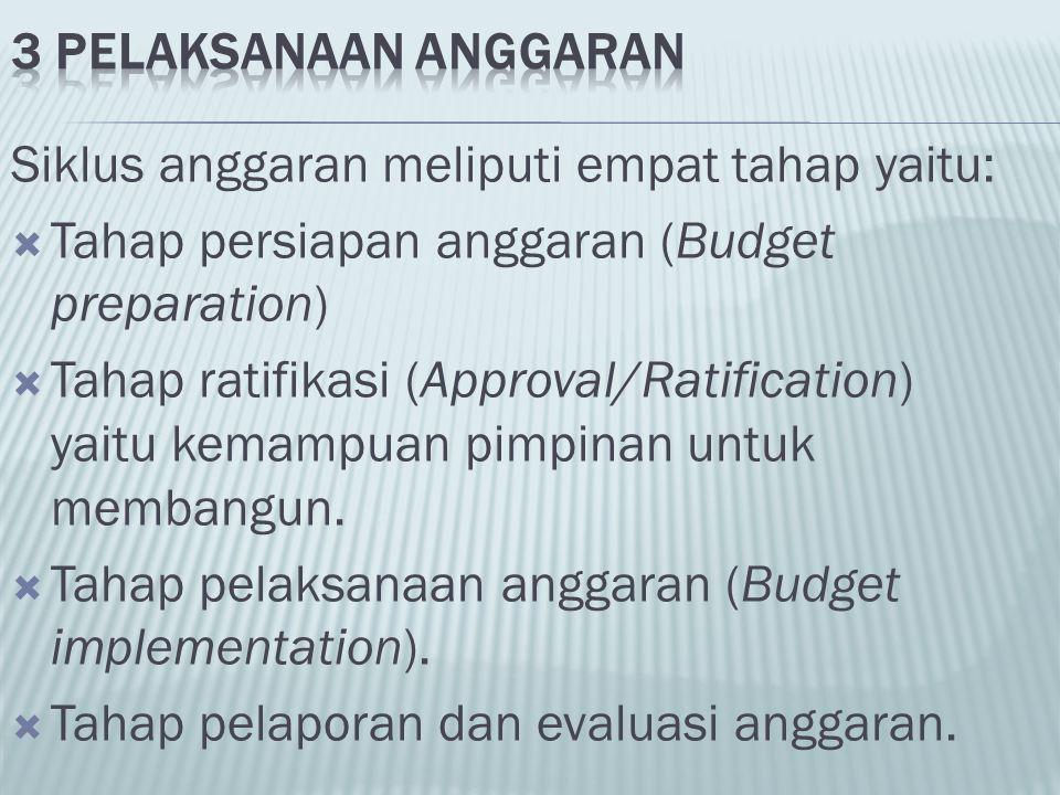 Siklus anggaran meliputi empat tahap yaitu:  Tahap persiapan anggaran (Budget preparation)  Tahap ratifikasi (Approval/Ratification) yaitu kemampuan