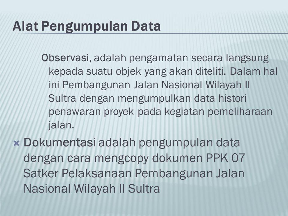 Alat Pengumpulan Data Observasi, adalah pengamatan secara langsung kepada suatu objek yang akan diteliti. Dalam hal ini Pembangunan Jalan Nasional Wil