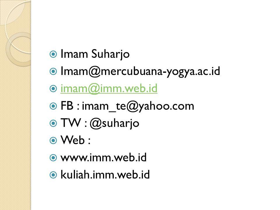  Imam Suharjo  Imam@mercubuana-yogya.ac.id  imam@imm.web.id imam@imm.web.id  FB : imam_te@yahoo.com  TW : @suharjo  Web :  www.imm.web.id  kuliah.imm.web.id