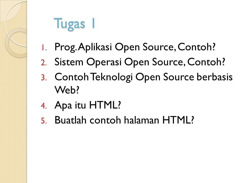 Tugas 1 1. Prog. Aplikasi Open Source, Contoh? 2. Sistem Operasi Open Source, Contoh? 3. Contoh Teknologi Open Source berbasis Web? 4. Apa itu HTML? 5