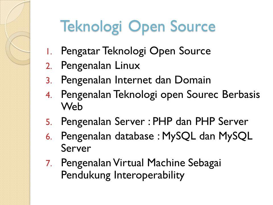 Teknologi Open Source 1. Pengatar Teknologi Open Source 2. Pengenalan Linux 3. Pengenalan Internet dan Domain 4. Pengenalan Teknologi open Sourec Berb