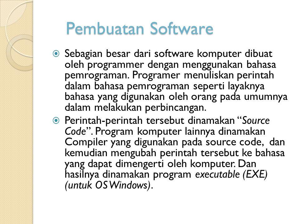 Pembuatan Software  Sebagian besar dari software komputer dibuat oleh programmer dengan menggunakan bahasa pemrograman. Programer menuliskan perintah