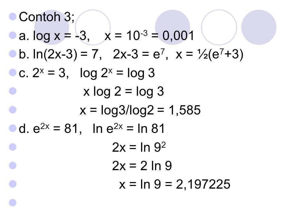 Contoh 3; a. log x = -3, x = 10 -3 = 0,001 b. ln(2x-3) = 7, 2x-3 = e 7, x = ½(e 7 +3) c. 2 x = 3, log 2 x = log 3 x log 2 = log 3 x = log3/log2 = 1,58