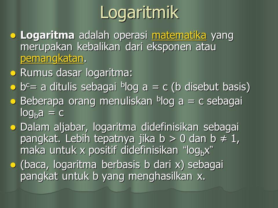 Logaritmik Logaritma adalah operasi matematika yang merupakan kebalikan dari eksponen atau pemangkatan. Logaritma adalah operasi matematika yang merup
