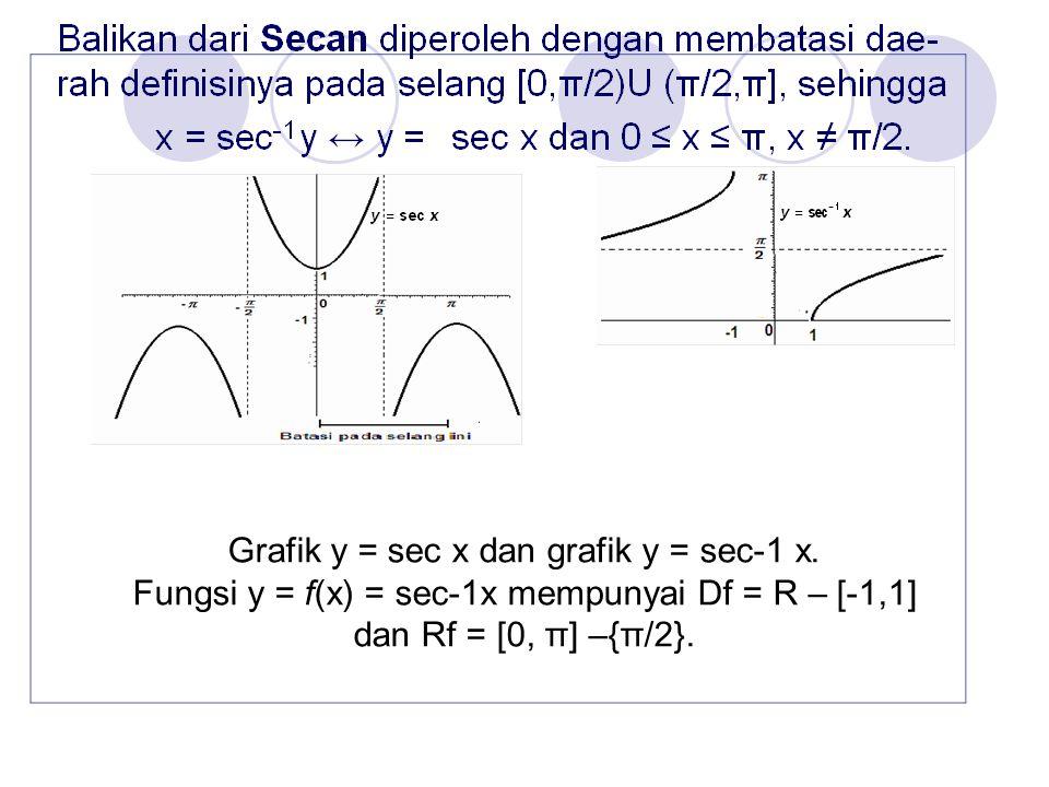 Grafik y = sec x dan grafik y = sec-1 x. Fungsi y = f(x) = sec-1x mempunyai Df = R – [-1,1] dan Rf = [0, π] –{π/2}.