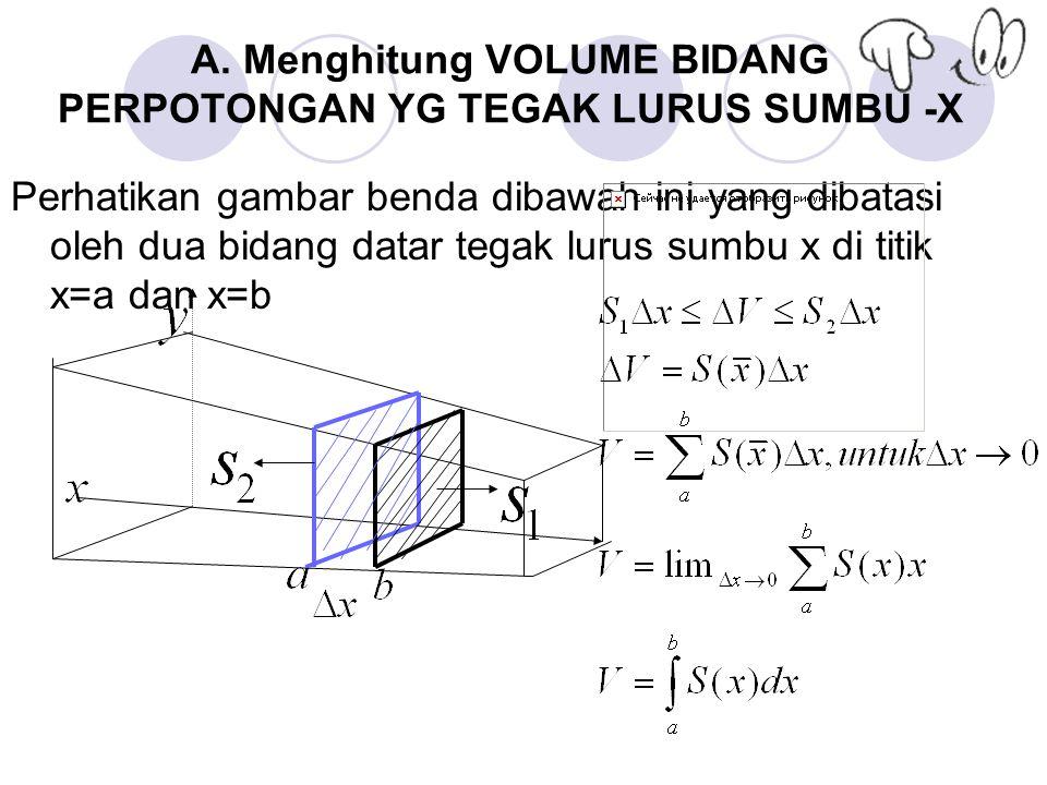 A. Menghitung VOLUME BIDANG PERPOTONGAN YG TEGAK LURUS SUMBU -X Perhatikan gambar benda dibawah ini yang dibatasi oleh dua bidang datar tegak lurus su