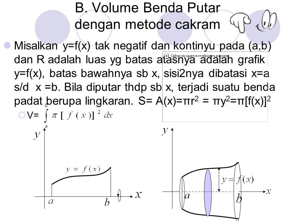 B. Volume Benda Putar dengan metode cakram Misalkan y=f(x) tak negatif dan kontinyu pada (a,b) dan R adalah luas yg batas atasnya adalah grafik y=f(x)
